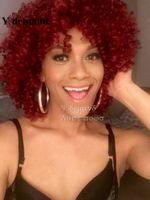 flauschige pony großhandel-Klassische Mode Mittellange Extra Große Flauschige Rihanna Bang Weinrote Verworrene Lockige Perücken Frisur Frauen Perücken Y Nachfrage