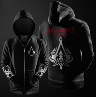 Assasins creed Pas Cher-NOUVEAU Automne Hiver Assieds Hoodie Creed Hommes Noir Cosplay Sweatshirt Costume Fleece Lined Assassins Creed Hommes Hoodies Vestes