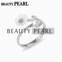 Wholesale Sterling Leaf - 5 Pieces Flower Leaf Semi Mount Ring Settings for Pearls White Shell Floral Design 925 Sterling Silver