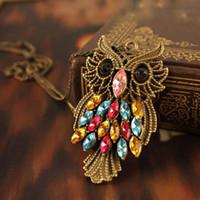 Wholesale Owl Retro Long Chain - Retro Vintage Colorful Rhinestone Bronze Owl Long Chain Jewelry Pendant Necklace