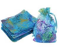 mavi şeker poşetleri toptan satış-Wholesale-100pcs Coralline Desen Mavi Organze Ambalaj Çanta Takı Sabun Düğün Parti Lehine Şeker Noel Hediye Kılıfı Sıcak satış