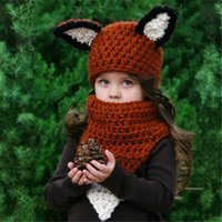 Wholesale Spring Color Scarves - Everweekend Cute Girls Windproof Knitted Fox Ear Hats and Scarf 2pcs Sets Cute Children Winter Accessories Brown Color Caps