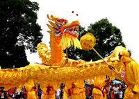 Wholesale folk costumes - Size 5 # yellow golden 4m-19m fabric 6 students Chinese DRAGON DANCE ORIGINAL Folk mascot costume china special culture holiday party