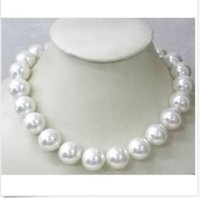 Wholesale Gold South Sea Pearl - classic 14mm south sea round white shell pearl necklace 18inch