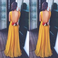 Wholesale Sexy Gorgeous Evening Dress Cheap - Gorgeous 2017 Ginger Yellow Chiffon Formal Dresses Evening Cheap Sexy Backless V Neck Hand Made Flowers Weding Guest Gown Custom Made EF6208