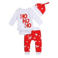 Wholesale Ho Clothing - 2017 Christmas Kids Clothes Newborn Infant Baby Boy Girl Snowflake Ho Romper Red Deer Pants Outfits Hat 3pcs Suits Cotton Fall Set 0-24M