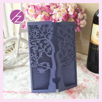 Wholesale Sale Wedding Invitation Card - Wholesale-12pcs lot Birthday party decorations elegant tree wedding laser cut invitation card wedding decoration hot sale custom printing