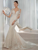 Wholesale Demetrios Mermaid Dresses - 2017 Exquisite Long Sleeve Mermaid Wedding Dresses Lace Applique Sequined Covered Button Bridal Gowns Demetrios Bride Dress