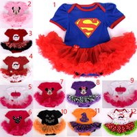 Wholesale Girls Leopard Lace - Baby Christmas Xmas Supergirl Mickey rompers suits happy birthday Newborn anna rompers cake dress girl Lace rompers leopard dress 12 Design