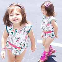 Wholesale Little Girl Beach Suit - Little Girls Clothing Set Summer Floral Baby Girls Suit Cute Top Bloomer Baby Girls Outfit Beach Kids Clothes