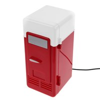 Wholesale Cool Led Desktop Light - Wholesale- Desktop Mini USB Gadget Beverage Cans Cooler Warmer Refrigerator Mini Fridge with Internal LED Light usb fridge