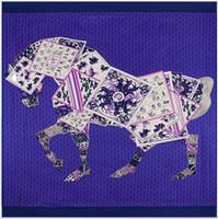 Wholesale Silk Square Neck Scarves - Wholesale- [POBING] Luxury Brand 100% Twill Silk Scarf Woman Poker Horse Neck Wraps Echarpe Square Female Big Size Shawl Hijab Neckerchief