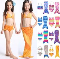 Wholesale Swimming Costume Kids - Girls Mermaid Tail Bikini Suit Kids INS Swimmable Mermaid Fins Swimsuit Swimming Costume Bathing Suit 27 Design OOA1296