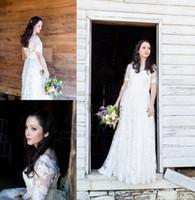 Wholesale Vestidos Plus Size China - Casamento Lace Wedding Dress with Sleeves Boho China Wedding Dresses 2017 Vestidos de Novia Backless Floor Length Bridal Gowns