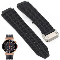 Wholesale Lugged Steel - Watchband Free Shipping 26 25mm x 19mm (Watch lug) High quality Black Litchi Rubber watch Btrap Band With Stainless Steel Buckle for HUB