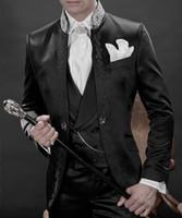 Wholesale Men Navy White Pinstripe Suit - Custom Made New Style Groom Tuxedos Black Best man Suit Mandarin Lapel Groomsman Men's Wedding Suits Bridegroom(Jacket+Pants+Tie+Vest)J738