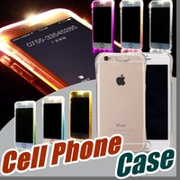 Wholesale Wholesale Clear Iphone Cases Cheap - Cheap TPU+PC LED Flash Light Up Case Remind Incoming Call Cover for iPhone 7 SE 6 6S Plus Samsung S7 S6 Edge Note 5 Clear Transparent F-SW