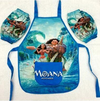 Wholesale Painting Smocks - Moana Cartoon Apron Kids Childrens Cartoon Character Waterproof Cooking Art Painting Smock Apron+Oversleeve Christmas Gift CCA6996 30pcs