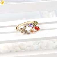Wholesale Lucky Clover Diamond - CSJA Adjustable Gold Plated Copper CZ Diamond Cluster Ring Women Girl Lucky Clover Flower Clear Crystal Engagement Wedding Jewelry E158