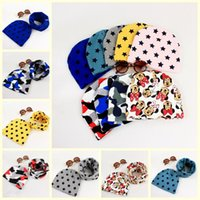 Wholesale Little Girls Scarves - spring autumn korean children hats 100% cotton boys girls cartoon caps with matching scarf 2pcs sets little baby keep warm headgear for 0-6Y