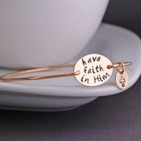 """Wholesale wholesale inspirational - New Arrival """"have faith in Him"""" Bangle Gold Plated Inspirational Words Bangle Bracelet Pulsera For Men and Women YP2645"""