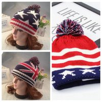 ecd67ae92c2 3 Styles Autumn Winter Hat Children Kids Flag Cotton Beanies Cap Pom Pom  Ball Knitted Beanies Stripe and Stars Hats CCA7507 100pcs