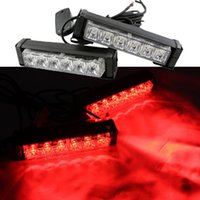 2x 6 LED de emergencia para coche Beacon Grille Strobe Hazard Warning LED Light Bar Red