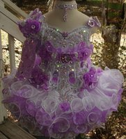 Wholesale One Shoulder Beaded Flower Girl - One shoulder beaded purple white necklace hand made flower cupcake toddler little girls pageant dresses flower girls for weddings glitz