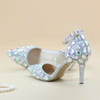 Wholesale Crystal Ankle Strap Shoes - Pointed Toe Rhinestone Shoes Summer Sandals Ankle Straps Lady Kitten Heel Shoes AB Crystal Wedding Party Shoes Banquet Pumps
