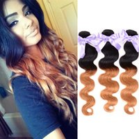 Halo Lady Brazilian Virgin Malaysian Human Hair Weaves Extensions Body Wave Hair Bundles 1B / 27, Blue, Purple, 4/27 Ombre Color Hair 3Pcs / lot
