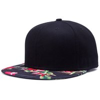 Wholesale korean style snapback cap resale online - Korean Style Red Flower Printing Street hip hop baseball hat fashion flat brimmed hat outdoors casual brand snapback for women men