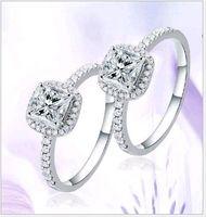Wholesale Ladies Gold Diamond Ring - Solitaire Ladies ring Korean Fashion White Gold Plated Cubic Zircon CZ diamond Princess Rings for Sale 10pcs