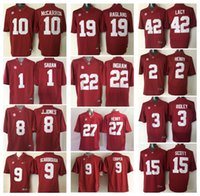 Wholesale Scott Red - 1 SABAN 2 Jalen Hurts 3 Ridley 8 J.JONES 9 Scarbrough 15 SCOTT 10 MCCARRON 19 RAGLAND Men College Alabama Crimson Tide Football Jersey Red