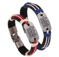 silber armband leder knebel großhandel-
