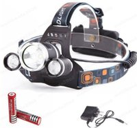 Wholesale ED Headlight LED Cree T6 Q5 Head Lamp High Power LM Flashlight battery Power supply Charger MYY