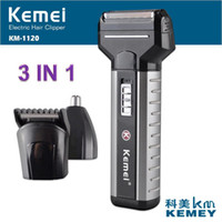 Wholesale Rechargeable Nose Trimmers - Kemei 3 In 1 Rechargeable Electrics Shaver Nose Head Hair Trimmer Double Head Shaving Razor For Men Face Care KM-1120
