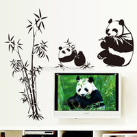 Wholesale country decorative - Removable Giant Panda Bamboo Wall Sticker Decorative Living Room Sofa TV Background Decals Bedroom Home Decoration