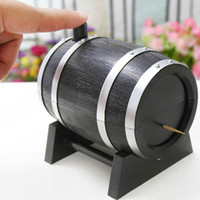 Wholesale Wood Wine Boxes Wholesale - Wholesale- 2016 Black Popular Wine Barrel Plastic Automatic Toothpick Box Container Dispenser Holder Dining Table Decor