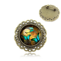 Wholesale Vintage Cabochon Brooch - Wholesale- Fashion Vintage Brooches Beautiful Butterfly Pins Glass Cabochon Dome Brooch Creative Women Jewelry