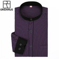 Wholesale Stand Up Men Shirt - 2016 Men Dress Shirt Spring New Arrival Long Sleeve Business Men Fashion Individuality Simple Stand-up Collar Stripe Shirt M028