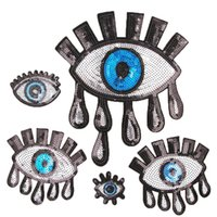 Wholesale sew motifs for clothes for sale - Group buy Sequined Eye Patches Iron on Patches For Clothes Sew Sequin Applique Badge Stickers Motif Embroidery Patches DIY T shirt Accessories