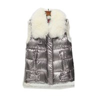Monc Silver Shiny Surface Vest Light Light Capelli di agnello Down Jacket Addensare Cappotto Women Fashion Sleeveless Short Paragraph Glossy HFYTMJ001