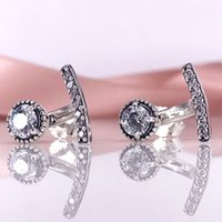 Wholesale Jewelry Accessories Authentic S925 Silver Abstract Elegance Drop Earring With Clear CZ Fits European DIY Style Jewelry CZ