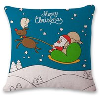 Wholesale cars christmas ornament - Christmas Santa Claus Pillow Case Cushion Cover Sofa Decoration Printed Decorative Ornament Linen Gift Square Pillowcase Home Decor Car
