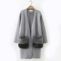 Wholesale Thin Sweaters For Women Loose - 2017 Autumn Sweaters for women Loose Long sleeve with Pocket women Cardigan Gray and Navy blue color