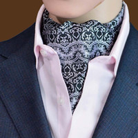 Wholesale Groom Scarf - Classic Mans Neckwear Striped Dots Ascot Tie Cravat Scarf Men Neck Tie Jacquard Scarf Self Tie For Wedding Party Groom