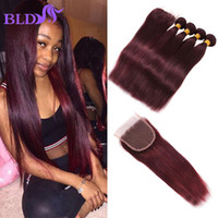 Wholesale 24 Human Red Hair - Peruvian Straight Virgin Hair With Lace Closure Red Weave And Closure Bundles With Closure 99 j Straight Weave Human Hair Vendors