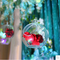 Wholesale 30 Transparent Acrylic Ball Vase Bowl Hanging Mount Flower Plant Candle Container Home Wedding Party Christmas Decoration
