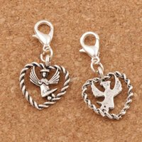 Wholesale Open Heart Charms - Angel With Wings In Open Heart Lobster Claw Clasp 100pcs lot Tibetan silver Charm Beads Jewelry DIY C933 15.9x32mm