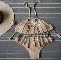 Wholesale Womens Tassel Bathing Suits - New Summer Bohemian Womens Halter Weave Crochet Swimsuit Tankinis Bikini Set Tassels Knitted Bikini Triangle Swimwear Bathing Suit